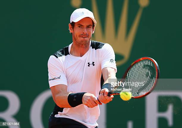 Andy Murray of Great Britain plays a backhand during the quarter final match against Milos Raonic of Canada on day six of the Monte Carlo Rolex...