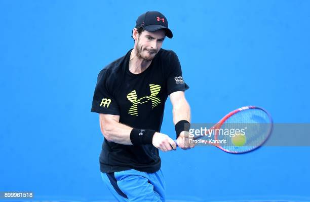 Andy Murray of Great Britain plays a backhand in a warmup session during day one at the 2018 Brisbane International at Pat Rafter Arena on December...