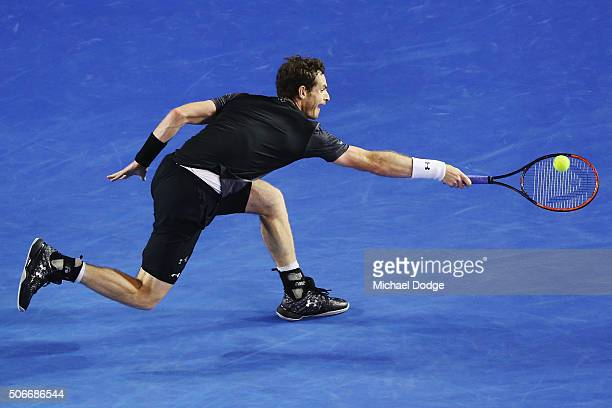 Andy Murray of Great Britain plays a backhand in his fourth round match against Bernard Tomic of Australia during day eight of the 2016 Australian...