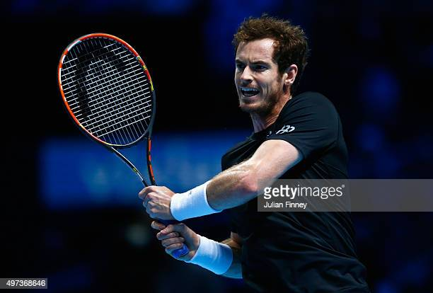 Andy Murray of Great Britain plays a backhand in his men's singles match against David Ferrer of Spain during day two of the Barclays ATP World Tour...