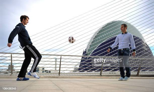 Andy Murray of Great Britain plays a ball to Roberto Soldado of Valencia during the ATP 500 World Tour Valencia Open tennis tournament at the Ciudad...