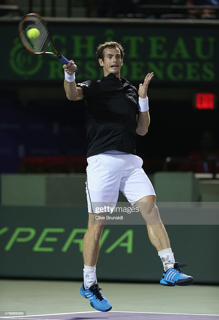 Andy Murray of Great Britain plays a forehand against Matthew Ebden of Australia during their second round match during day 5 at the Sony Open at Crandon Park Tennis Center on March 21, 2014 in Key Biscayne, Florida.