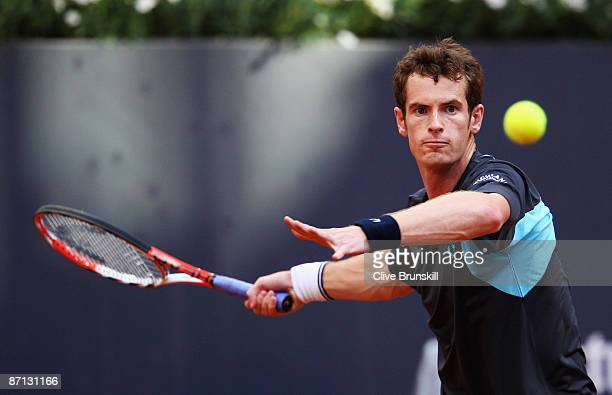 Andy Murray of Great Britain plays a forehand against Simone Bolelli of Italy in their second round match during the Madrid Open tennis tournament at...