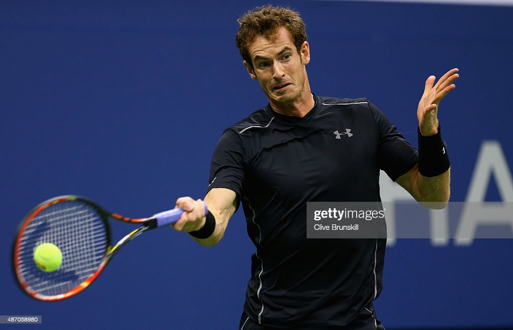 Andy Murray of Great Britain plays a forehand against Thomaz Bellucci of Brazil during their mens singles third round match on Day Six of the 2015 US Open at the USTA Billie Jean King National Tennis Center on September 5, 2015 in the Flushing neighborhood of the Queens borough of New York City.