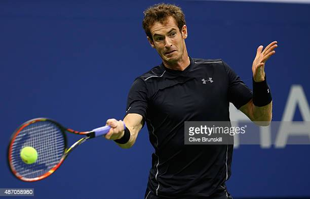Andy Murray of Great Britain plays a forehand against Thomaz Bellucci of Brazil during their mens singles third round match on Day Six of the 2015 US...
