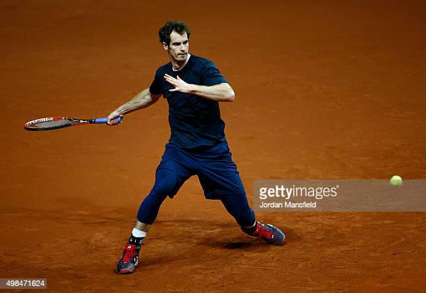 Andy Murray of Great Britain plays a forehand during a practice session at Flanders Expo on November 23, 2015 in Ghent, Belgium.