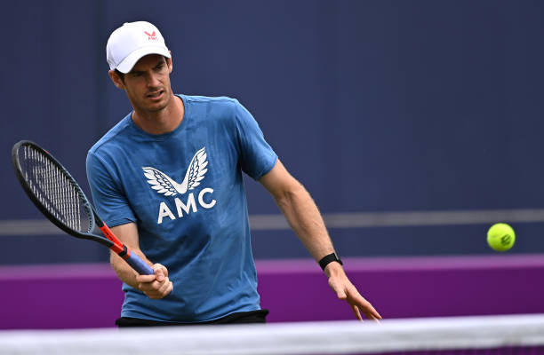 Andy Murray of Great Britain plays a forehand during a practice session during Day 3 of The cinch Championships at The Queen's Club on June 16, 2021...