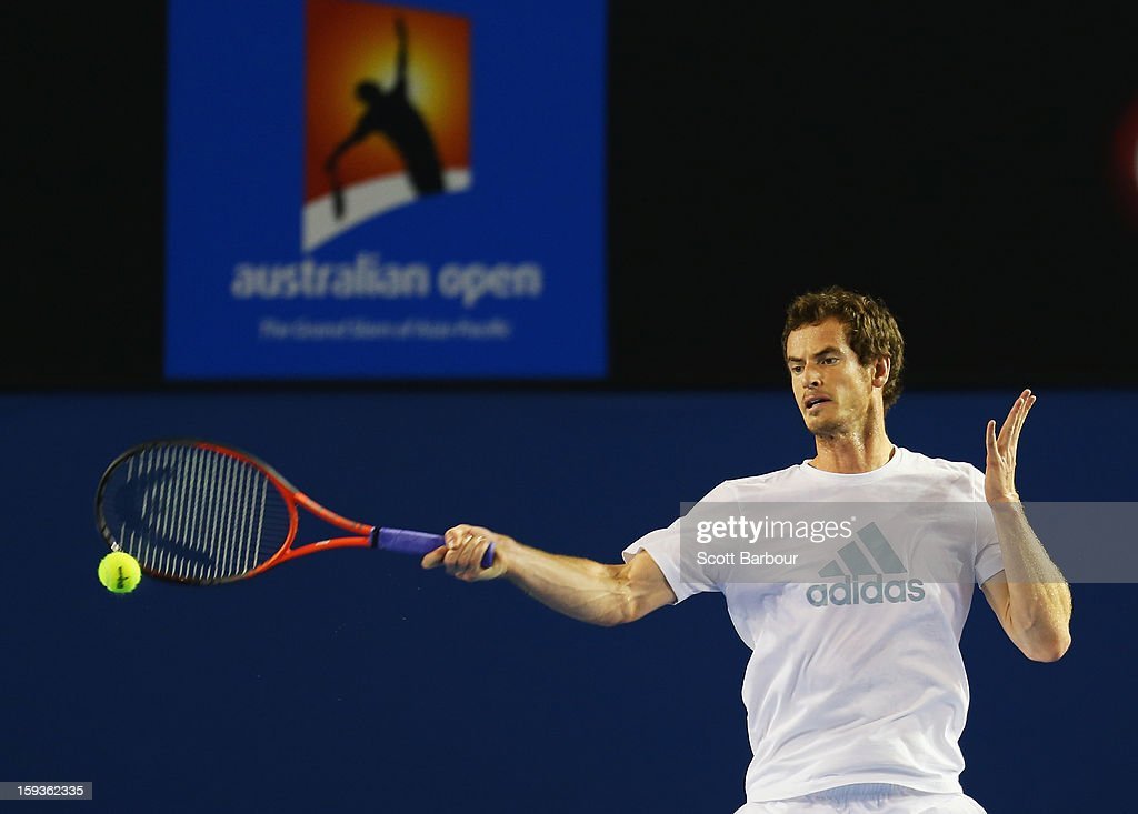 Andy Murray of Great Britain plays a forehand during a practice session ahead of the 2013 Australian Open at Melbourne Park on January 13, 2013 in Melbourne, Australia.