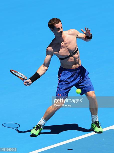 Andy Murray of Great Britain plays a forehand during a practice session ahead of the 2015 Australian Open at Melbourne Park on January 12 2015 in...