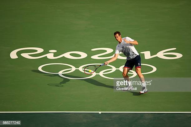 Andy Murray of Great Britain plays a forehand during a practice session ahead of the Rio 2016 Olympic Games at the Olympic Tennis Centre on August 2...
