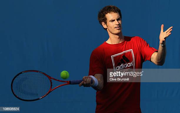 Andy Murray of Great Britain plays a forehand during a practice session on day thirteen of the 2011 Australian Open at Melbourne Park on January 29,...