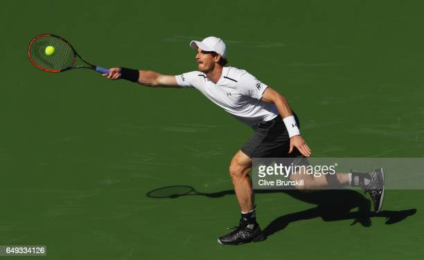 Andy Murray of Great Britain plays a forehand during a practice session on day two of the BNP Paribas Open at Indian Wells Tennis Garden on March 7...