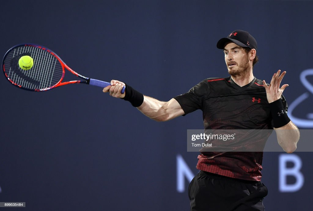 Andy Murray of Great Britain plays a forehand during his exhibition match against Roberto Bautista Agut of Spain on day two of the Mubadala World Tennis Championship at International Tennis Centre Zayed Sports City on December 29, 2017 in Abu Dhabi, United Arab Emirates.