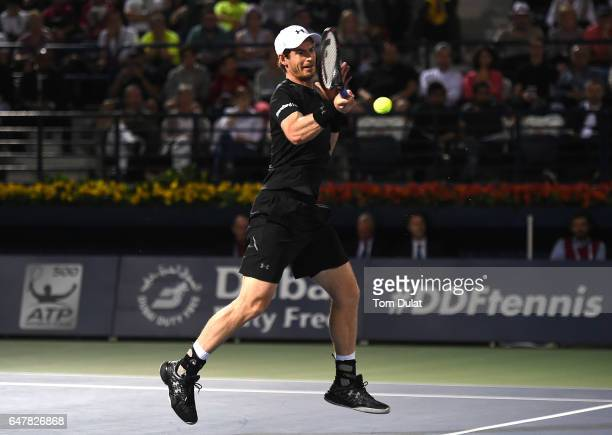 Andy Murray of Great Britain plays a forehand during his final match against Fernando Verdasco of Spain on day seven of the ATP Dubai Duty Free...