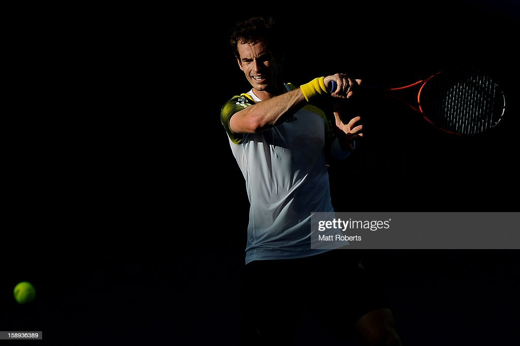 Andy Murray of Great Britain plays a forehand during his match against Denis Istomin of Uzbekistan on day six of the Brisbane International at Pat Rafter Arena on January 4, 2013 in Brisbane, Australia.