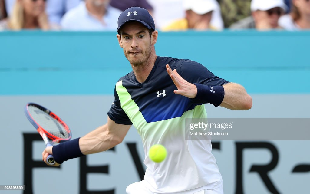 Andy Murray of Great Britain plays a forehand during his match against Nick Kyrgios of Australia on Day Two of the Fever-Tree Championships at Queens Club on June 19, 2018 in London, United Kingdom.