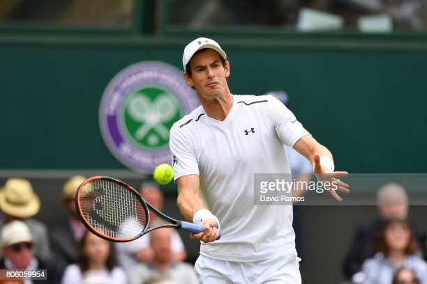 Andy Murray of Great Britain plays a forehand during the Gentlemen's Singles first round match against Alexander Bublik of Kazakhstan on day one of...