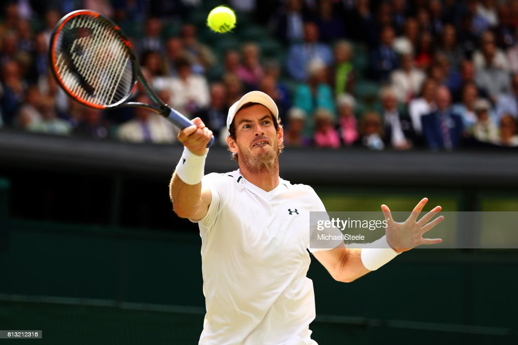 Andy Murray of Great Britain plays a forehand during the Gentlemen's Singles quarter final match against Sam Querrey of The United States on day nine of the Wimbledon Lawn Tennis Championships at the All England Lawn Tennis and Croquet Club on July 12, 2017 in London, England.