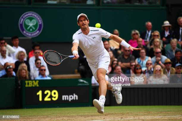 Andy Murray of Great Britain plays a forehand during the Gentlemen's Singles quarter final match against Sam Querrey of The United States on day nine...