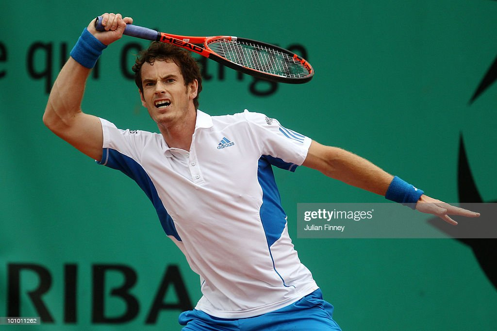 Andy Murray of Great Britain plays a forehand during the men's singles second round match between Andy Murray of Great Britain and Juan Ignacio Chela of Argentina on day five of the French Open at Roland Garros on May 27, 2010 in Paris, France.