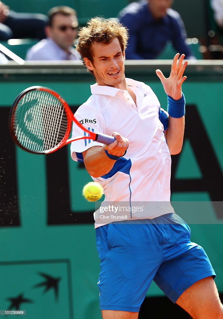 Andy Murray of Great Britain plays a forehand during the men's singles third round match between Andy Murray of Great Britain and Marcos Baghdatis of Cyprus on day six of the French Open at Roland Garros on May 28, 2010 in Paris, France.