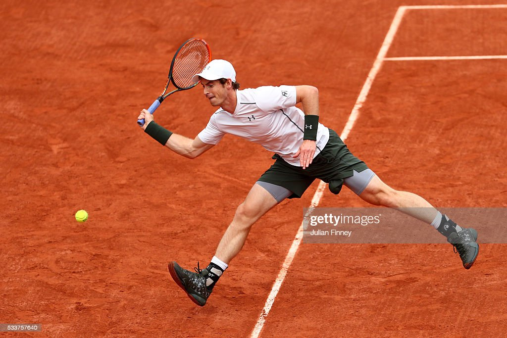 Andy Murray of Great Britain plays a forehand during the Men's Singles first round match against Radek Stepanek of the Czech Republic on day two of the 2016 French Open at Roland Garros on May 23, 2016 in Paris, France.