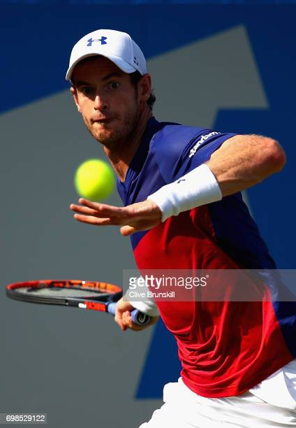 Andy Murray of Great Britain plays a forehand during the mens singles first round match against Jordan Thompson of Australia on day two of the 2017...