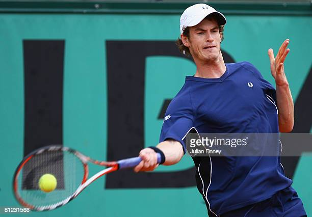 Andy Murray of Great Britain plays a forehand during the Men's Singles first round match against Jonathan Eysseric of France on day one of the French...