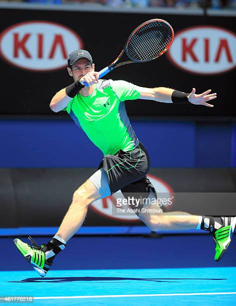 Andy Murray of Great Britain plays a forehand in his first round match against Yuki Bhambri during day one of the 2015 Australian Open at Melbourne...