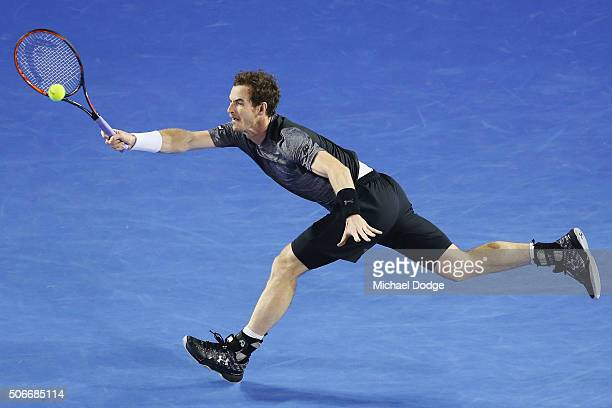 Andy Murray of Great Britain plays a forehand in his fourth round match against Bernard Tomic of Australia during day eight of the 2016 Australian...
