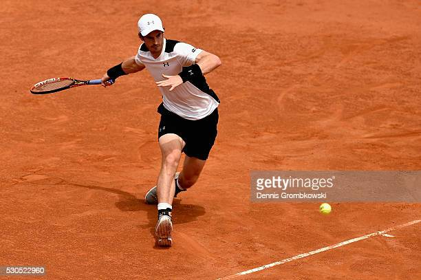 Andy Murray of Great Britain plays a forehand in his match against Mikhail Kukushkin of Kazakshtan on Day Four of The Internazionali BNL d'Italia on...