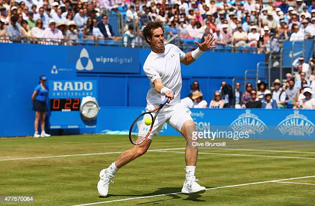 Andy Murray of Great Britain plays a forehand in his men's singles second round match against Fernando Verdasco of Spain during day four of the Aegon...