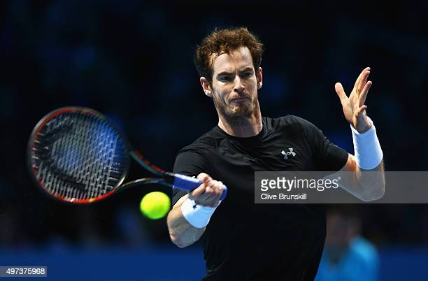 Andy Murray of Great Britain plays a forehand in his men's singles match against David Ferrer of Spain during day two of the Barclays ATP World Tour...