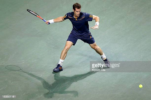 Andy Murray of Great Britain plays a forehand in his second round match against Lukas Lacko of Slovakia during day three of the Rakuten Open at...