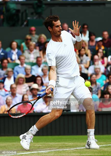 Andy Murray of Great Britain plays a forehand return during his Gentlemen's Singles fourth round match against Kevin Anderson of South Africa on day...