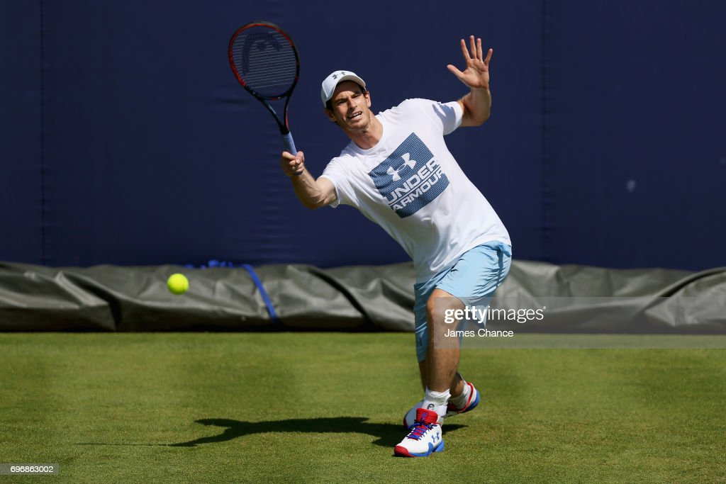 Andy Murray of Great Britain plays a forehand shot during a practice session ahead of the Aegon Championships at Queens Club on June 16, 2017 in London, England.