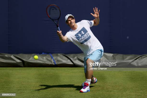 Andy Murray of Great Britain plays a forehand shot during a practice session ahead of the Aegon Championships at Queens Club on June 16 2017 in...