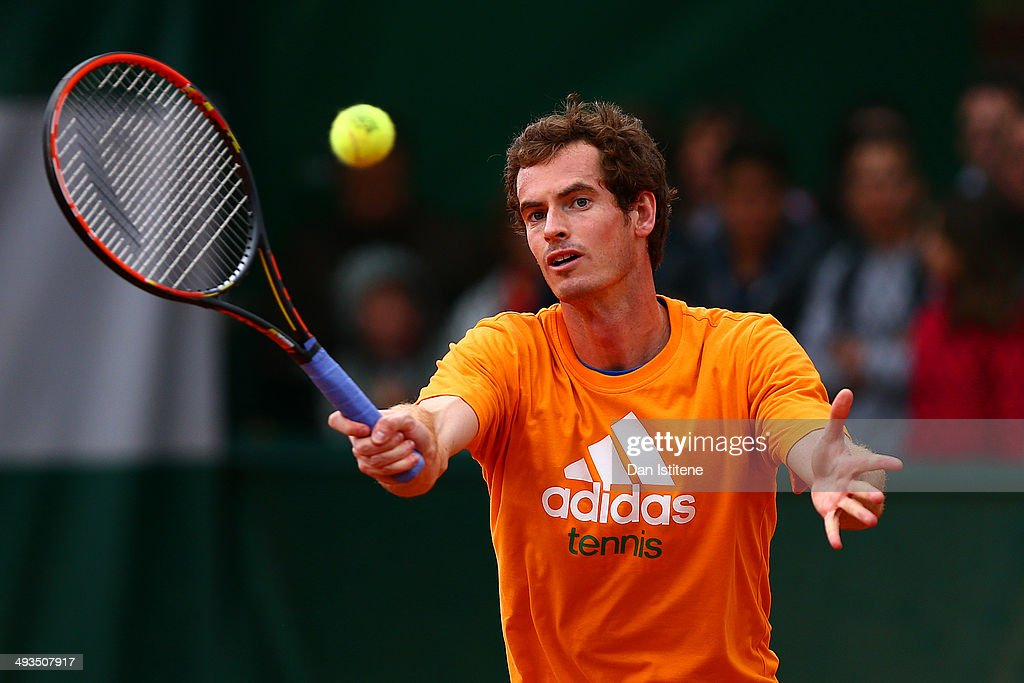 Andy Murray of Great Britain plays a shot during a practice session ahead of the French Open at Roland Garros on May 24, 2014 in Paris, France.