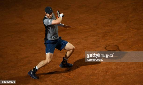 Andy Murray of Great Britain plays a shot during his second round match against Fabio Fognini of Italy in The Internazionali BNL d'Italia 2017 at...