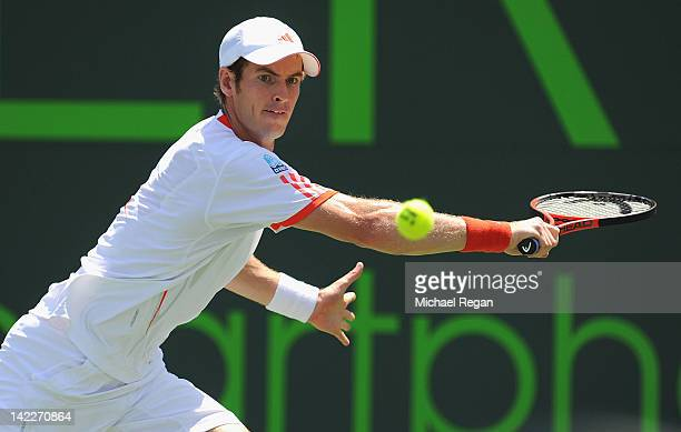 Andy Murray of Great Britain plays a shot during the men's singles final against Novak Djokovic of Serbia on day 14 of the Sony Ericsson Open at...