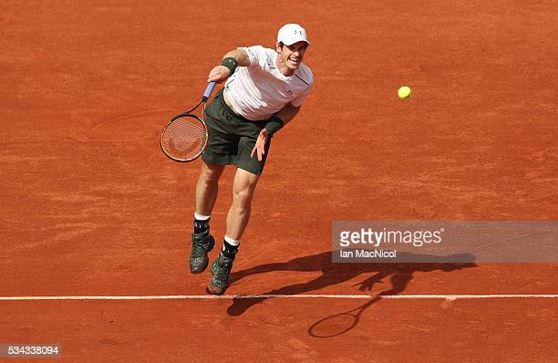 Andy Murray of Great Britain plays a shot during the Men's Singles Second round match against SMathias Bourgue of France on day Four of the 2016...