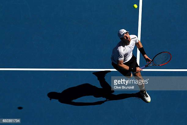 Andy Murray of Great Britain plays a shot in his fourth round match against Mischa Zverev of Germany on day seven of the 2017 Australian Open at...