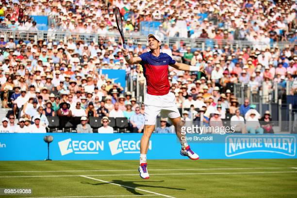 Andy Murray of Great Britain plays a volley during the mens singles first round match against Jordan Thompson of Australia on day two of the 2017...