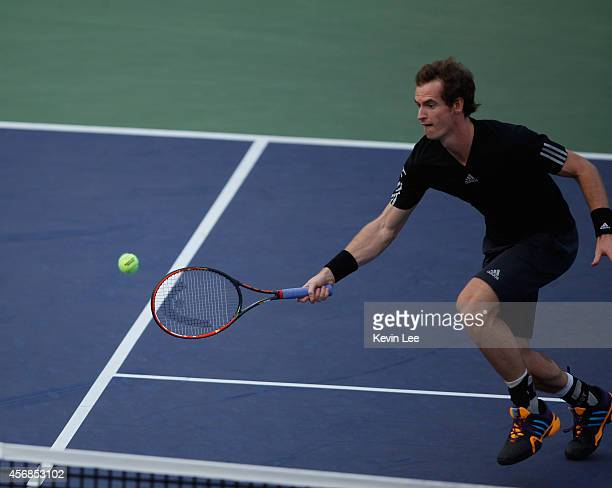 Andy Murray of Great Britain plays forehand during his match against Jerzy Janowicz of Poland during day 4 of the Shanghai Rolex Masters at Zi Zhong...