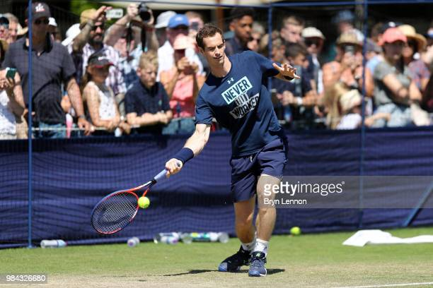 Andy Murray of Great Britain plays on a practice court on day five of the Nature Valley International at Devonshire Park on June 26 2018 in...