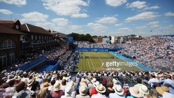 Andy Murray of Great Britain plays Radek Stepanek of the Czech Republic during their Men's Singles match on day four of the Aegon Championships at...