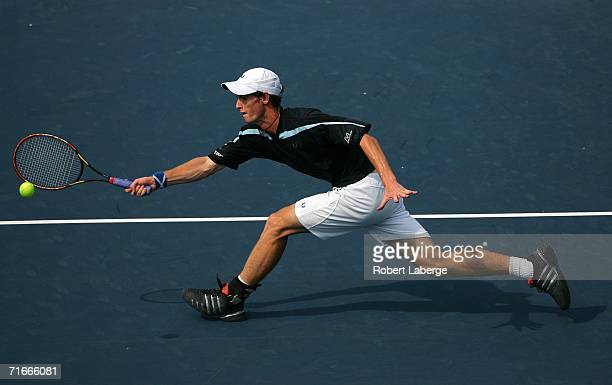 Andy Murray of Great Britain plays Robby Ginepri of the USA during their third round match at the 2006 Western Southern Financial Group Masters on...