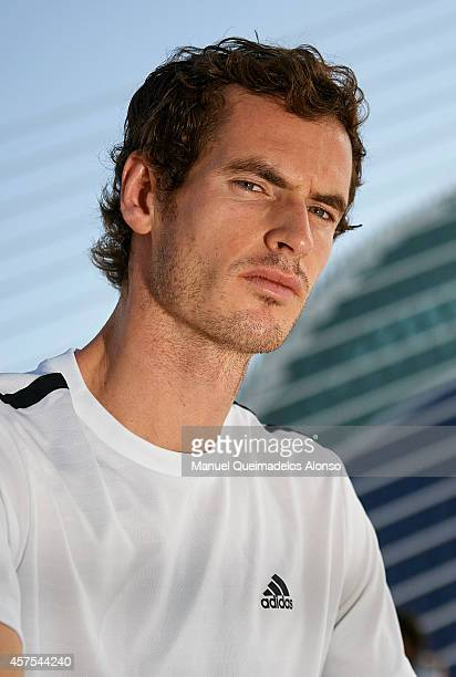 Andy Murray of Great Britain poses during day one of the ATP 500 World Tour Valencia Open tennis tournament at the Ciudad de las Artes y las Ciencias...