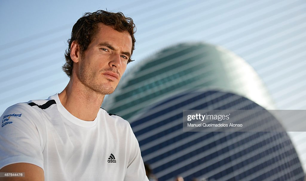 Andy Murray of Great Britain poses during day one of the ATP 500 World Tour Valencia Open tennis tournament at the Ciudad de las Artes y las Ciencias on October 20, 2014 in Valencia, Spain.