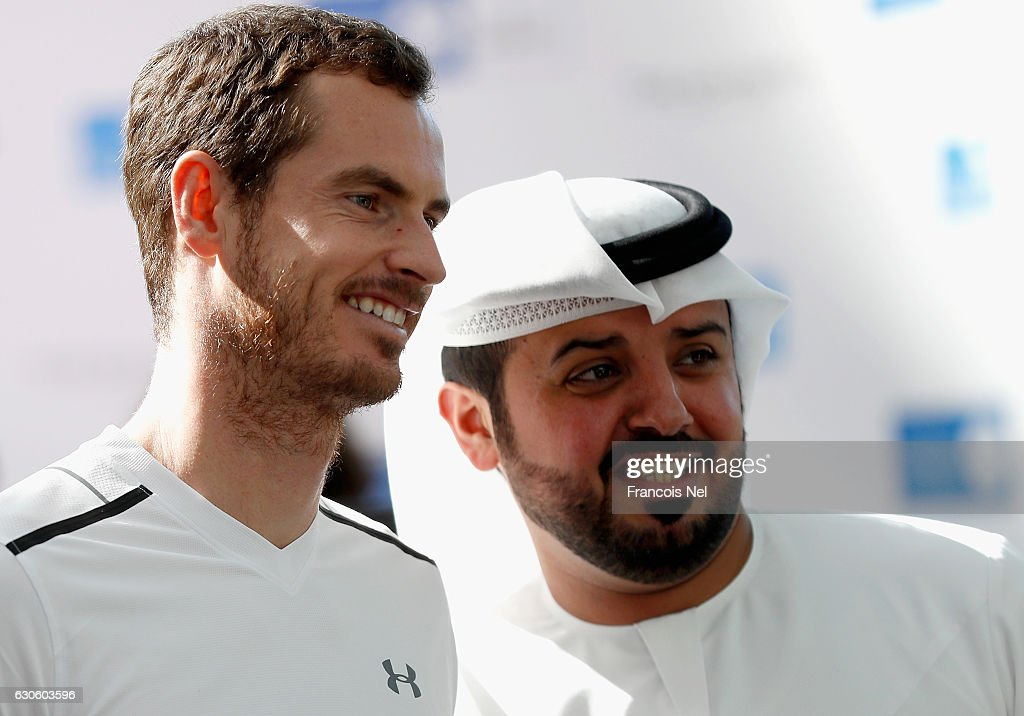 Andy Murray of Great Britain poses for a picture with fans during the offical players launch of 2016 Mubadala Tennis Championship at Al Maryah Island on December 28, 2016 in Abu Dhabi, United Arab Emirates.